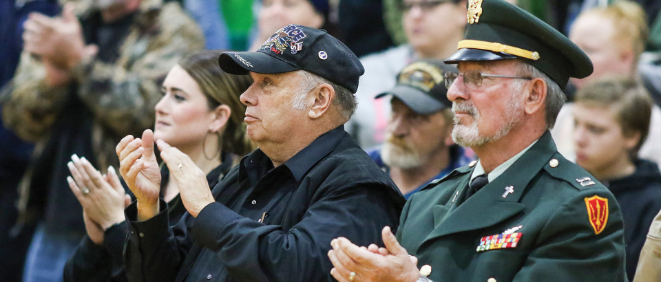 Veterans including Gary Sorenson and Tim Hall attended the assembly Friday, Nov. 10.
