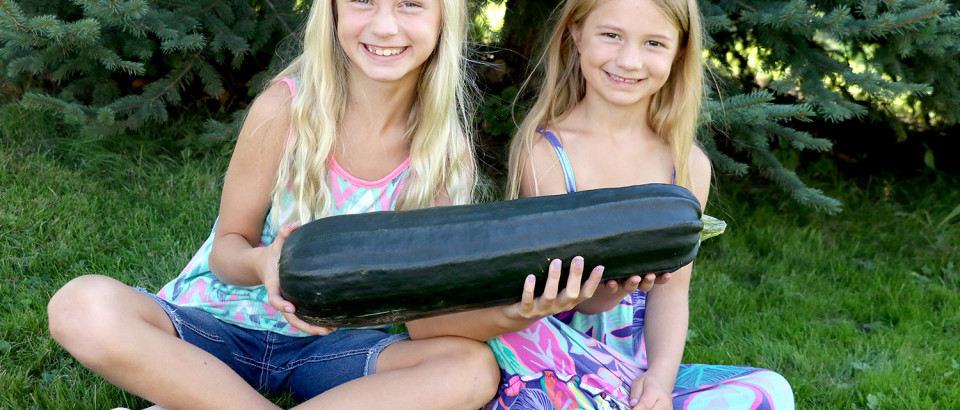 Kaylynn Boyett and her sister, Lydia, hold up Kaylynn's zuchini that she will decorate and enter in the Veggie Decorating Contest at the St. Maries Rotary Club's Family Fun Day. Children ages six to 11 are invited to enter a vegetable into the contest for a chance at winning a $100 prize sponsored by Triple X Feeds.