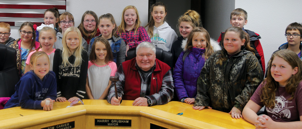 The Heyburn Elementary fifth-grade student council visited City Hall Nov. 9. Students include (front from left) Brenna Elliot, Nevaeh Homer, Sydney Jones, Mayor Harry Grubham, Kara Morris, Abbygail Leeds, Liberty Barden, (back) Landon Tweedy, Addisen Edwards, Katie Shull, HaiLeigh Short, Jada Barden, Lily Rice, Naomi Mueller, Danika Sloper, Mia Asbury, Lilly Wilkinson, Trenton Riberich, Ryley Cook. The students were accompanied on their visit by student council advisor, Leora Sanford and City Council member Marge Gannon.