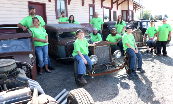 Darren Jackson Sr. and his wife, Jodie, Brad and Amanda Beckner, Chase Beckner, Sean Ryan, Jeff Baker, Darren Jackson Jr., and his wife Vanessa, Brady Beckner, Kyler Jackson and Dawson Ryan are helping to organize this year's Rattitude Rod Rumble, which is Friday and Saturday.