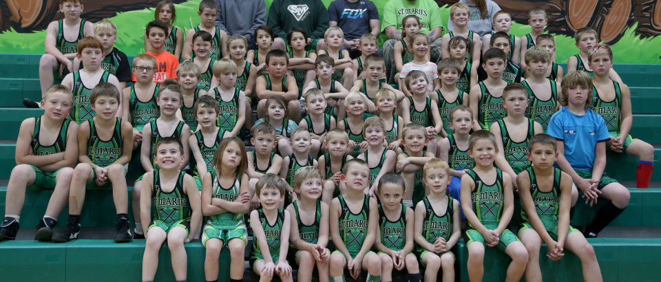 Members of the 2017 St. Maries Wrestling Club include (front, from left) Takodah Crane, JoJane Barta, Aiden Clark,  Aiden Arnold, Rylen Harvey, Sam Jones, Jack Clark, Parker Thomas and  Ben Armas. (Second row, from left) Blane Kucerik, Lynden Thompson, Dominic Hammons, Brentin Sines, Easton Harvey, Boaz Newton, Everitt Lewis, Tucker Arnold, Carson Solom, Nikoli McPeak, Jerrett Brebner and Kyle Smith. (Third row, from left) Zackary Sotin, Landon Tweedy, Jamuson Edwards, Gage Richardson, Kanzie Jessen, Hunter MdPeak, Carter Geldreich, Gradyn Harvey, Rexton Jessen, William Tondee, Aiden Yearout, Rustle Brusseau and Gage Green. (Fourth row, from left) Trey Gibson, Zachary David, Dalton Swisher, Dallan Koroush, Emmitt Rivend...., Canon St. John, Kelby Harvey, Zoey David, Maddy Swisher, Kody Watkins, Trace Chatigny and Brock Anderson. (Fifth row, from left) Scott Sotin, Alexis Rose, Kristoffer Brusseau, Brock Barta, Jack Barta, Gabe Holloran, Harley Turner, Sadie Rose Davidson, Kodi Mitchell, Chase Beckner and Owen Chatigny (Top row, from left) Coaches Zak Jessen, Josh Harvey, Charlie Skinner, Cody Crane and Suzanne Sotin.