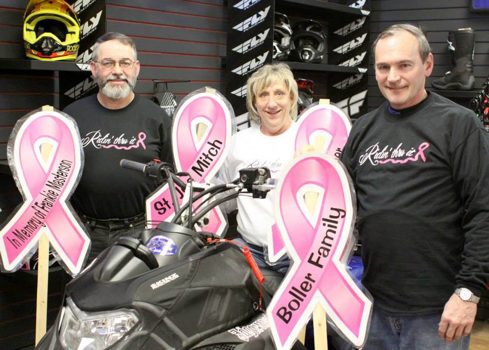 Jeff and Paula Spooner and Dale Hill are organized the second annual Breast Cancer Snowmobile Ride. Pink ribbons again can be purchased for $25. The ribbons will line the trail. Money will benefit local cancer patients.