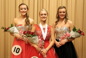 Rhegan Humphrey, center, was named 2015 St. Maries Distinguished Young Woman Saturday. Kendall Brusseau, left, was first runner up, and Paytyn Wemhoff, right, won second runner up.