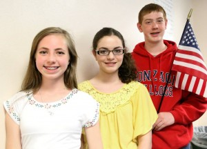 Aubree Osier, Lucia Yegge and Dylan Miller placed in the Elks Americanism Essay Contest on both the local, regional and state level. Aubree's essay placed first regionally and second in the state. Lucia was the local sixth grade winner. Her essay also placed third regionally. Dylan was the local winner for the eighth grade and his essay placed first regionally and second at the state level.