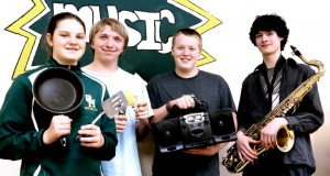 Shelby Holder, Conner Silflow, Hunter Megee and Dawson Marunde are band students at St. Maries High School. The St. Maries Music Boosters Club will serve breakfast and have a flea marker May 10 to help raise money to support music students, both band and choir.