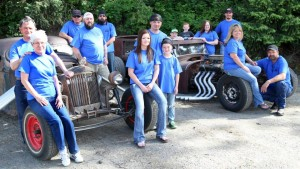 This crew of rat rod enthusiasts have helped organize the third annual Rattitude Rod Rumble, which is from 10 a.m. to 3 p.m. Saturday, June 21, at Aqua Park. There will be a cruise and drive-in movie shown Friday night and there will also be burnouts Saturday evening. Pictured here from left to right is Chuck and Carol Ryan, Denny Dunn, Sean Ryan and Brad Michael, Vanessa, Darren Jr. and Kyler Jackson, Brady, Chase, Amanda and Brad Beckner, and Jodie and Darren Jackson Sr.
