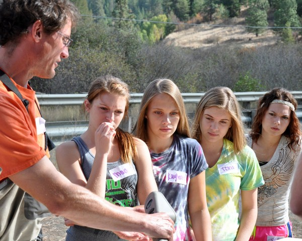 Jon Firehammer, a research monitoring and evaluation specialist with the Coeur d'Alene Tribal fisheries program, works with Maddie Dittman, Kaylene Peet, Toni Eells and Jaidyn Reynolds.