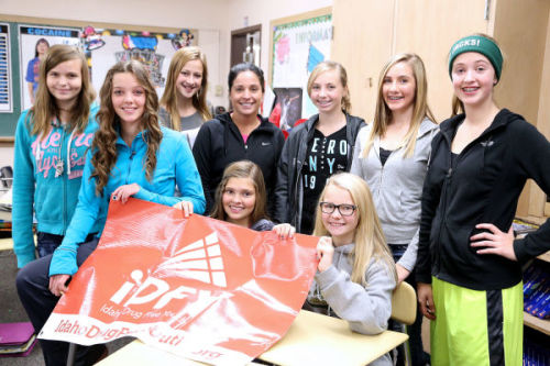 These students, who are members of Idaho Drug Free Youth, are also a part of STAND or Support Teens Against Nicotine Dependency. The students recieved a $1,000 STAND grant through the American Lung Association. Pictured here are: Alyssa Green, Liann Kren, Jenna Bauer, Advisor Jennifer Watkins, Beth Lindberg (sitting), Aubree Osier, Taylor Humphrey (sitting) Dakotah Wilks and Madison Cordell.