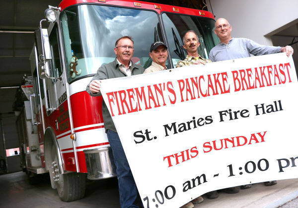 Mark McCalman, Tim Kraack, Phil Diffenbaugh and Jim Sheppard invite everyone to the annual Firemen's Pancake Breakfast, which is from 7 a.m. to 1 p.m. at the St. Maries Fire Station Sunday, March 29. The breakfast feeds more than 250 people each year and raises money for the St. Maries Firemen's Benevolence Fund.