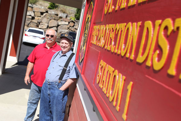 Tim Turner donated his time and expertise to create a sign for the St. Maries fire station. It took five men, including Chief Larry Naccarato and Mr. Turner, to place the sign earlier this month.