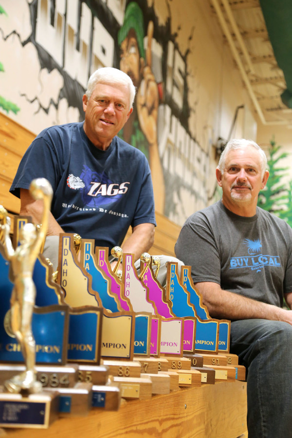 Mitch Santos (right) is pictured with Steve Konkright who served as junior varsity coach throughout most of Mr. Santos's career. The pair collected 11 state titles, 10 of which were consecutive. Mr.  Santos is being honored next month at the Inland Northest Sports Hall of Fame. Mr. Konkright was instrumental in developing younger players and preparing them for varsity competition, Mr. Santos said.