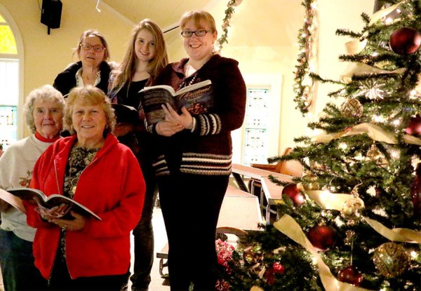 Peggy Blackburn, Lucy Cash, (back) Barbara Scaroni, Reagan Fritsche and Rachel Mitchell are just a few of the individuals who will perform with the Hiway 95 Christmas Choir this weekend.