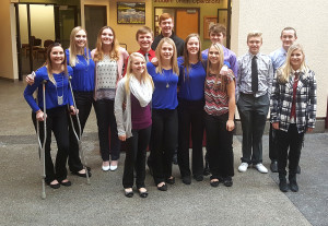 Students from St. Maries High School who qualified for the state BPA competition were (front, from left) Taylor Humphrey, Kaci Haeg, Madison Cordell, Kaylene Peet, (back) Dakotah Wilks, Kelsey Auer, Emma Hofmaister, Cooper Daniel, Dylan Miller, Hunter Hagan, Toby Young, Brayden Brusseau and Samantha McNulty. Not pictured: Elizabeth Bloomsberg