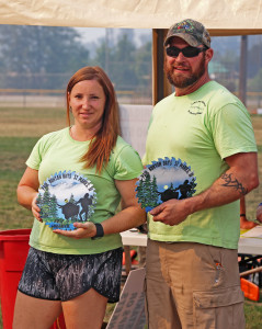 Sara and Paul Sotin were the 2017 Logger and Loggerette during the logging events Sept. 4. The husband-and-wife pair placed highest in a number of events, all while helping to run the games for others.