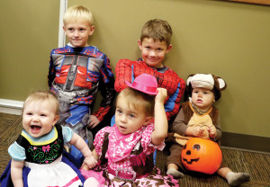 Aubree Hebert, Cason Kalberer, Easton Harvey, Paislie Welling and Uriah German are geeting excited for trick-or-treating.